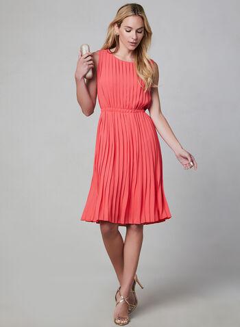 Maggy London - Sleeveless Pleated Dress, Orange, hi-res,  sleeveless, elastic, pleated, georgette, spring 2019, summer 2019