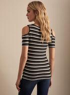 Stripe Print Cold Shoulder Top, Black