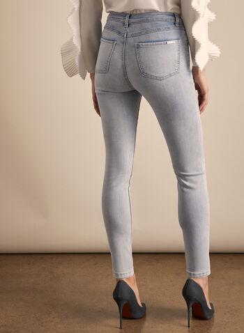 Joseph Ribkoff - Jeans à effet usé et strass, Bleu,  jeans, jambe étroite, usé, strass, poches, denim, printemps été 2020