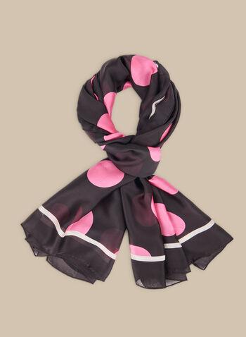 Polka Dot Lightweight Scarf, Pink,  scarf, lightweight, polka dot, contrast border, spring summer 2020