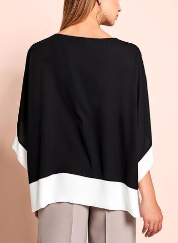 Blouse kimono contrastée, Noir, hi-res