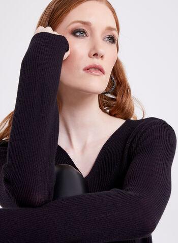 Pull en tricot texturé à manches longues, Violet, hi-res