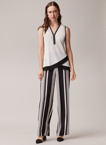 Blouse contrastante sans manches , Blanc cassé,  blouse, sans manches, contrastant, ourlet tulipe, jersey, printemps été 2020