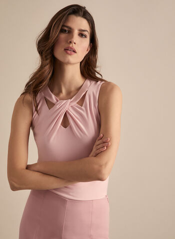 Sleeveless Cutout Detail Top, Pink,  top, sleeveless, scoop neck, cutout, twist, jersey, spring summer 2020
