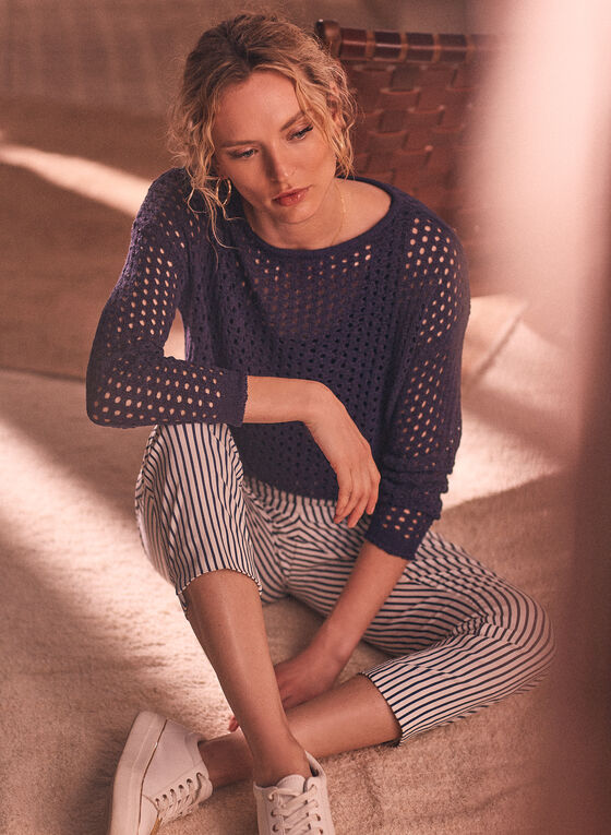 Pull en tricot translucide , Bleu