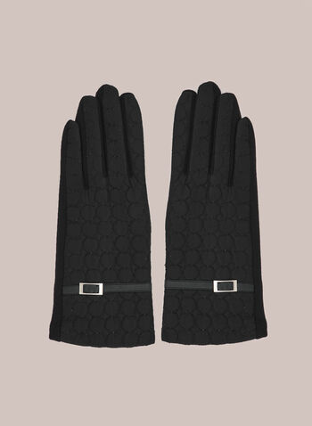 Quilted Gloves With Buckle, Black,  fall winter 2020, nylon, textured, quilted, buckle