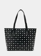 Embellished Faux Leather Tote Bag , Black, hi-res