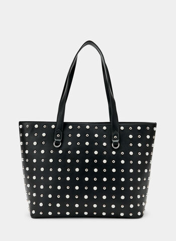 Embellished Faux Leather Tote Bag , Black, hi-res