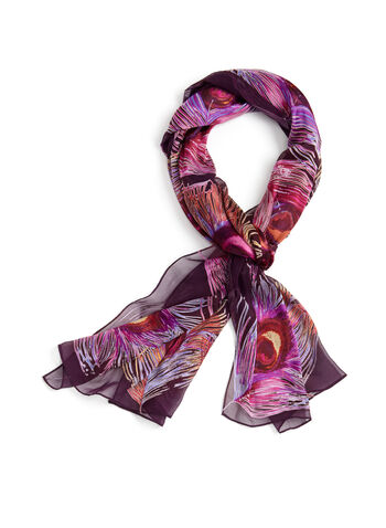 Feather Print Lightweight Scarf, Pink, hi-res