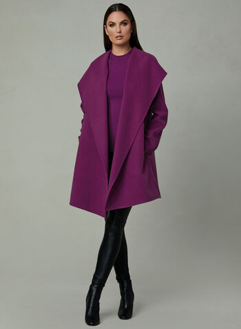Hooded Shawl Collar Coat, Pink, hi-res
