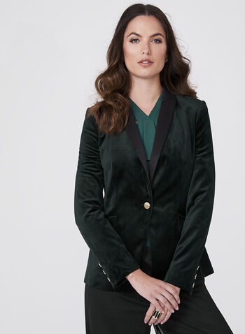 One-Button Velvet Blazer, Green, hi-res