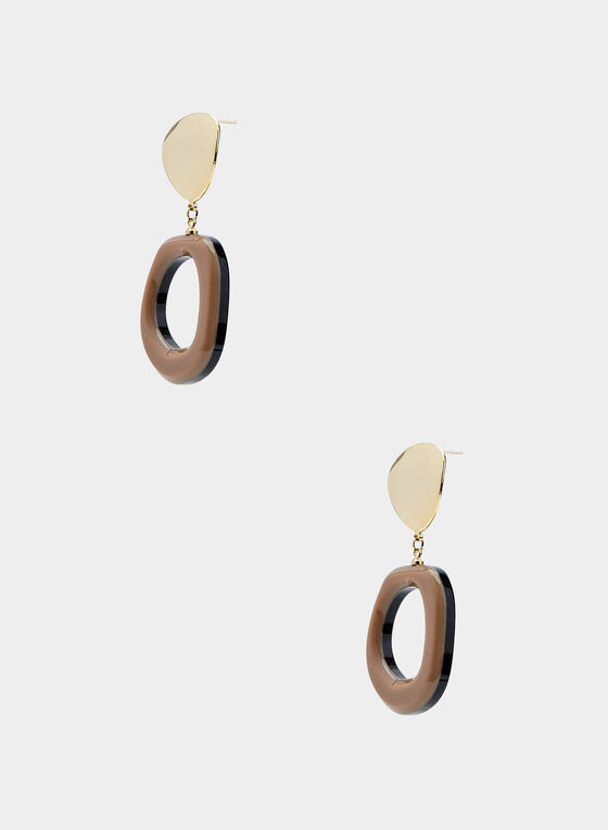 Geometric Drop Earrings, Brown, hi-res