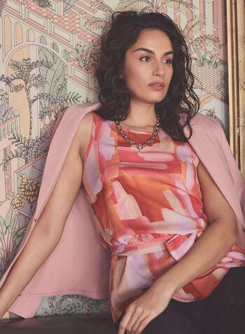 Blouse abstraite à ceinture, Orange,  blouse, sans manches, satin, ceinture, cintrée, abstrait, printemps été 2021
