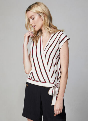 Vince Camuto - Stripe Print Tie Front Top, Brown, hi-res