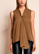Sleeveless Tie Front Satin Blouse, , hi-res