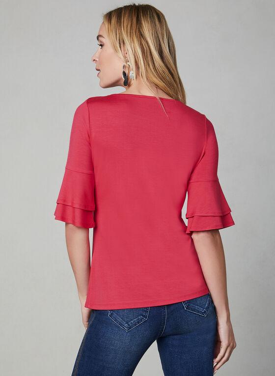 ¾ Ruffle Sleeve Top, Pink