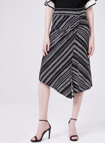 Pull-On Asymmetric Skirt, Black, hi-res