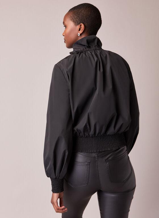 Drawstring Collar Nylon Jacket, Black