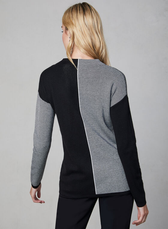 Mock Neck Colour Block Sweater, Black