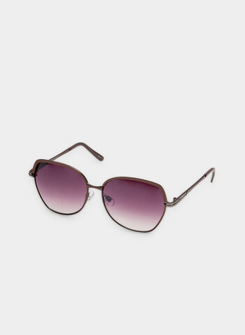 Wire Frame Sunglasses, Brown, hi-res