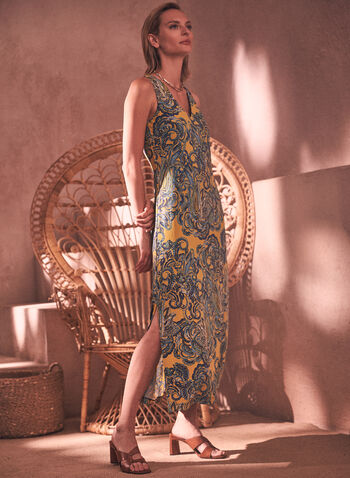 Paisley Print Maxi Dress, Yellow,  spring summer 2021, dresses, made in Canada, print, no sleeves, v neck, buttons, rear opening