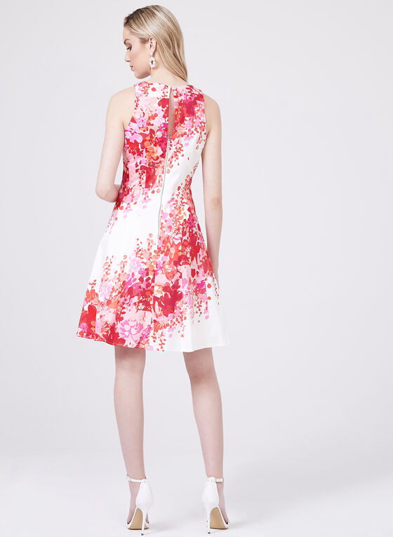 Maggy London - Abstract Floral Print Dress , Orange, hi-res
