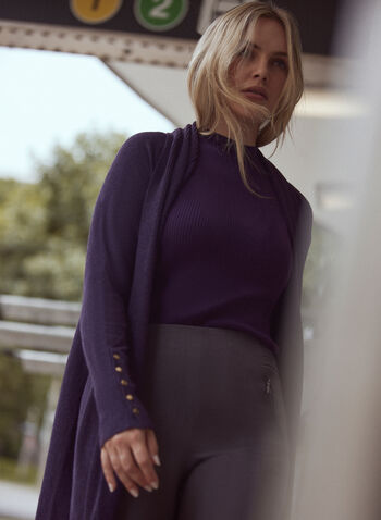 Open Front Knit Cardigan, Purple,  cardigan, knit, turn collar, long sleeves, buttons open front, fall winter 2021