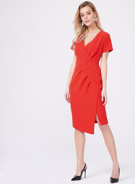 Cenia New York - Robe fourreau effet cache-cœur, Rouge, hi-res