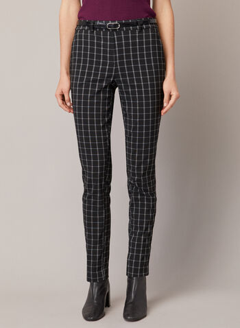 Chapter One - Tartan Print Belter Pants, Black,  fall winter 2020, pants, slim leg, pockets, bengaline, chapter one, tartan print, pull-on