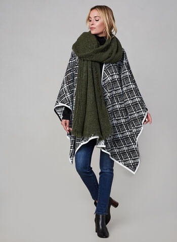 Karl Lagerfeld Paris - Poncho contrastant, Noir, hi-res,  automne hiver 2019, poncho, cape, ouvert, contrastant, bicolore, deux tons, bi-ton, tweed, tricot