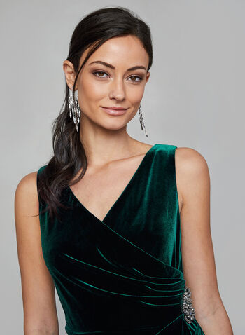 Alex Evenings -  Draped Velvet Dress , Green,  dress, velvet, draped, sleeveless, wrap-around bodice, side drape, rhinestones, fall 2019