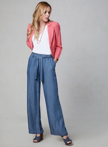 Linea Domani - Belted Wide Leg Pants, Blue,  pinstripe, wide leg, spring 2019, stripe print,