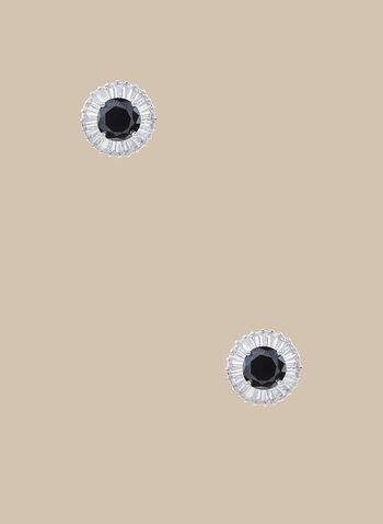 Clous d'oreilles à pierre ronde facettée, Noir,  clous d'oreilles, baguettes, pierre ronde facettée, printemps été 2020