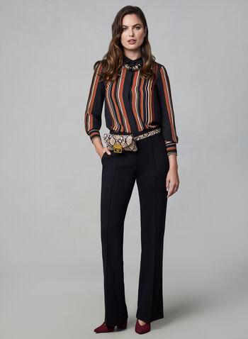 Stripe Print Chiffon Shirt, Black,  striped blouse
