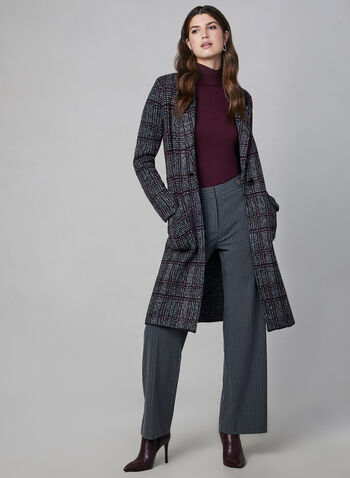 Houndstooth Knit Cardigan, Black,  knit coat, long coat, heavy cardigan, plaid cardigan, houndstooth cardigan