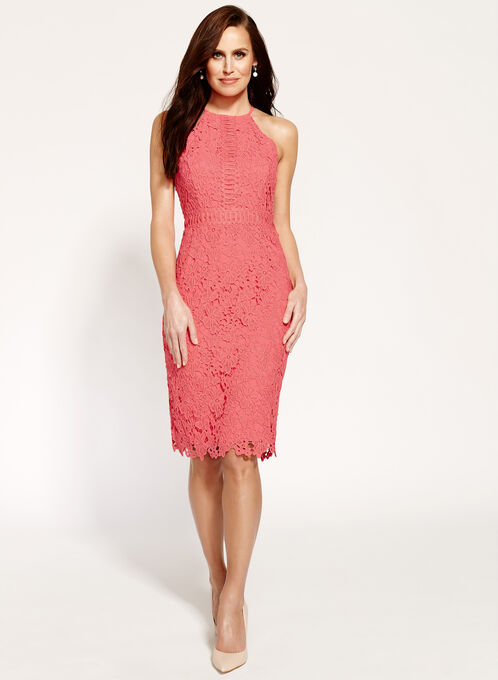 Maggy London Lace Halter Neck Dress, Orange, hi-res