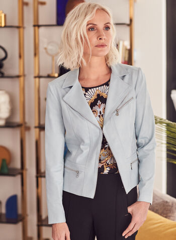 Vex - Faux Leather Jacket, Blue,  spring summer 2021, faux-leather fabric, zipper detail, notch collar