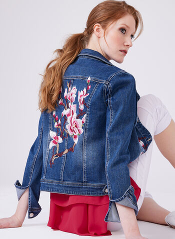 Embroidered Denim Jacket, Blue, hi-res