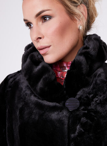 Nuage- Faux Fur Stand Collar Coat , Black, hi-res