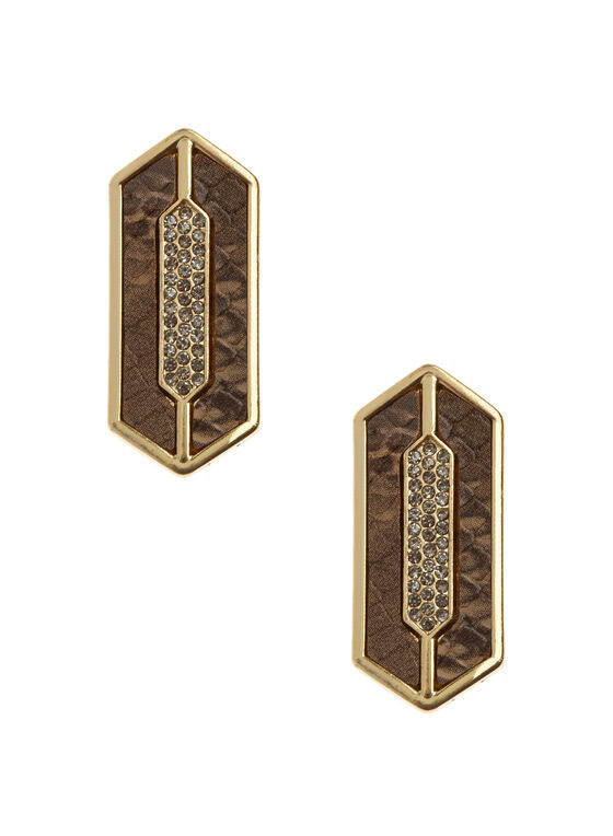 Geometric Snakeskin Earrings, Off White, hi-res