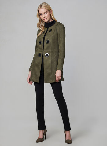 Faux Suede Redingote Jacket, Green,  long jacket, long sleeves, metallic eyelets, vegan suede, open front, fall 2019, winter 2019