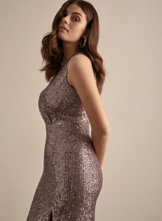 BA Nites - Robe fourreau en sequins, Violet