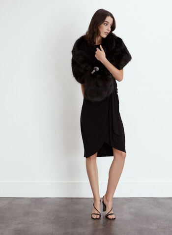 Brooch Detail Draped Dress, Black,  fall winter 2021, made in Canada, dress, day dress, occasion dress, cocktail dress, boat neckline, sleeveless, draped, wrapped, drape, effect, style, pleated, hemline, hem, rhinestone, brooch, side, comfortable