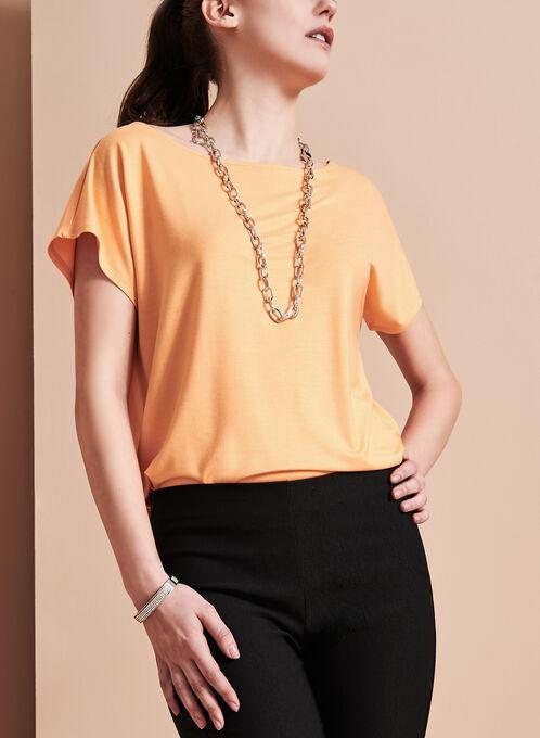 Short Sleeve Scoop Neck Top, Orange, hi-res