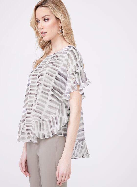 Blouse poncho en mousseline imprimé abstrait, Blanc, hi-res