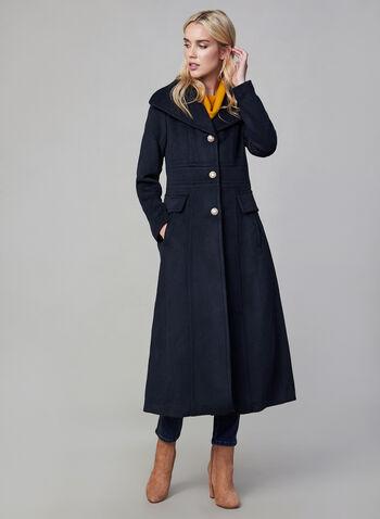 Karl Lagerfeld Paris - Manteau long d'inspiration militaire, Bleu,  manteau, long, militaire, laine, boutons, automne hiver 2019