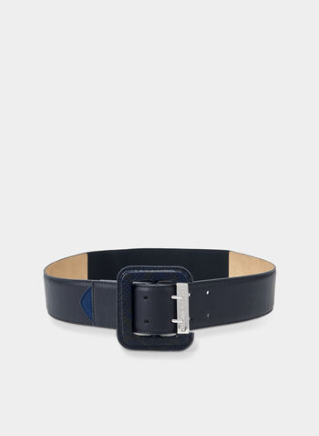 Vince Camuto - Elastic Buckle Belt, Blue,  snake print, square buckle, elastic, stretchy