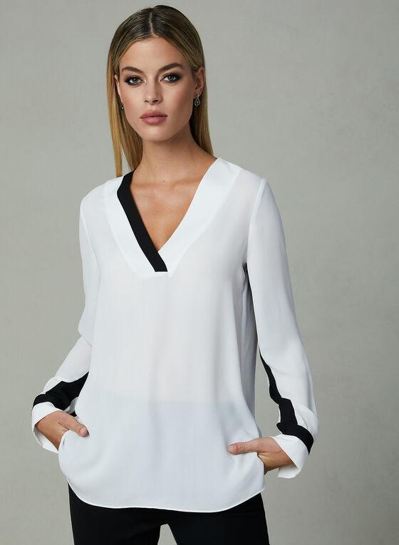 Long Sleeve Chiffon Blouse, Off White, hi-res