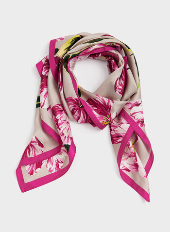 Foulard carré imprimé tulipe, Rose, hi-res