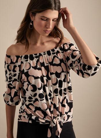 Joseph Ribkoff - Haut motif pois à épaules dénudées, Blanc,  haut, épaules dénudées, pois, nœud, jersey, printemps été 2020
